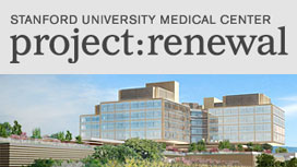 Stanford University Medical Center project: renewal. 3D rendering of a building.