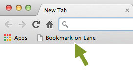 A screenshot showing arrow pointing to the Bookmark on Lane button on browser tool bar
