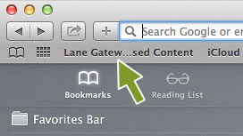 A screenshot of an arrow pointing to Lane Proxy Bookmarklet in the Bookmarks Bar